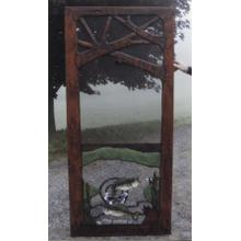Handmade rustic wooden screen door featuring a jumping fish.