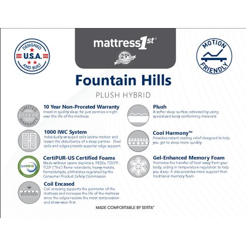 Fountain Hills Plush Hybrid - Fountain Hills - Plush Hybrid - Queen Mattress Only