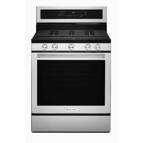 KitchenAid 30-in 5 Burners 5.8-cu ft Self-Cleaning Convection Oven Freestanding Gas Range (Stainless Steel with Print Shield)
