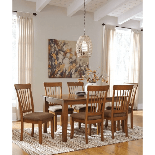 Berringer - Rustic Brown - 7 Pc. - Rectangular table & 6 Side Upholstered Chairs