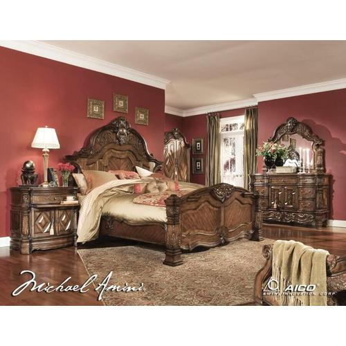 King Bed, Dresser, Mirror, Gentlemans Chest, Nightstand, and Fireplace