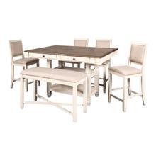 White Prairie Table with Shelves