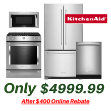 View Product - Kitchen Aid Stainless Suite with Slide-in Convection Stove and Your choice of a Counter Depth or Full Size Refrigerator