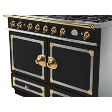 CornuFe 110 Dual Fuel Range -  Matte Black with Stainless Steel and Polished Brass Trim