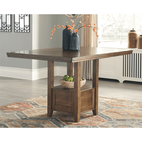 Flaybern - Brown - 7 Pc. - Rectangular Counter Extension Table & 6 Upholstered Barstools