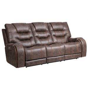 Warehouse M - Canyon Walnut Power Headrest Reclining Sofa   (WARE-CANYON)