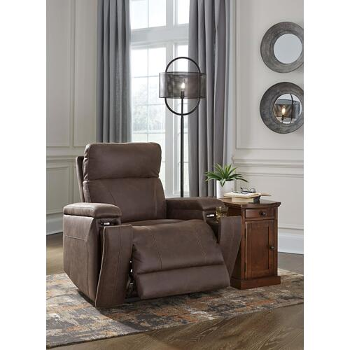 Rowlett Walnut Power Recliner with Power Lumbar & Headrest