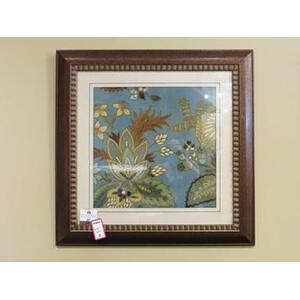 European Floral Teal Framed Wall Art