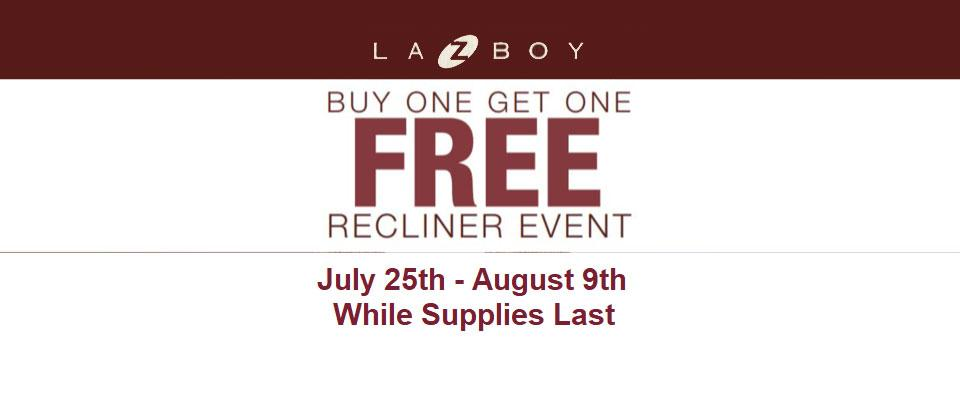 La-Z-Boy Recliner Event | Buy One Get One Free | While Supplies Last
