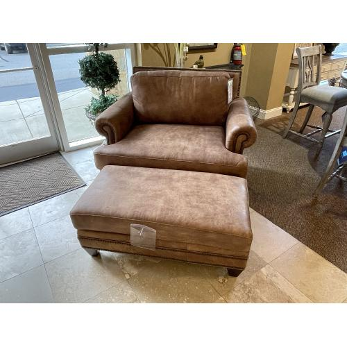 Mayo Furniture - STALLONE LEATHER CHAIR WITH MATCHING OTTOMAN