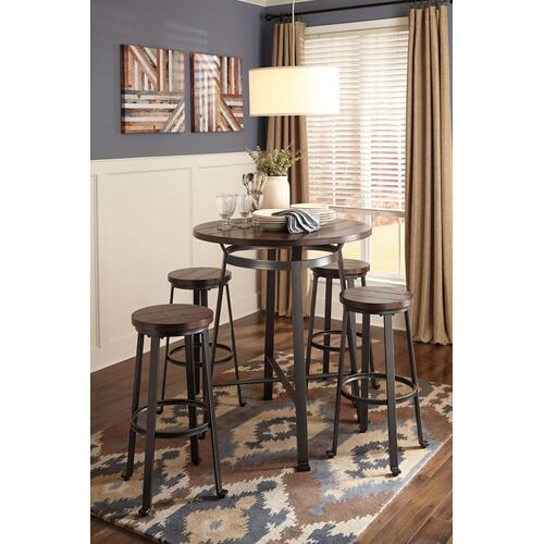 Challiman - Rustic Brown 5 Piece Dining Room Set
