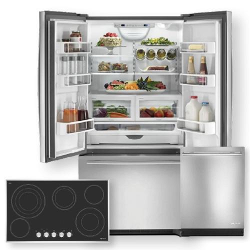JENNAIR 36 Inch Freestanding Counter Depth French Door Refrigerator 3-Piece Package- Open Box