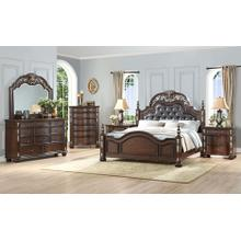 NEW CLASSIC B1754-310 B1754-320 B1754-340 B1754-060 B1754-050 Maximus Madeira 3-Piece Bedroom Group - Queen Upholstered Poster Bed, Dresser & Mirror