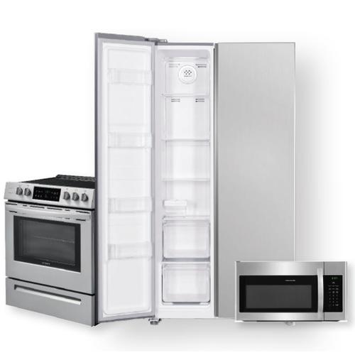 18.8 Cu. Ft. 36-Inch Counter-Depth Side-by-Side Refrigerator & 30'' Front Control Freestanding Electric Range Package