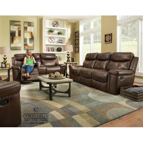 Softie Driftwood Leather Reclining Sofa and Loveseat