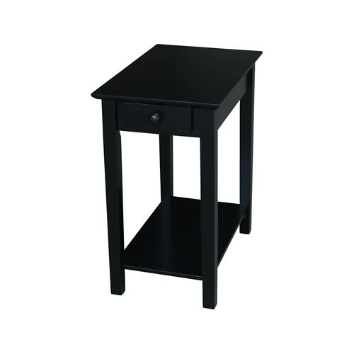 Narrow End Table in Solid Black