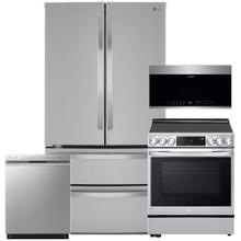 See Details - Stainless Steel 27 cu. ft. French Door Refrigerator & 6.3 cu.ft. Smart Instaview Electric Slide-In Range with Air Fry- 4 Pc Package