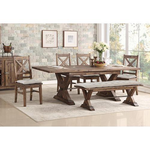 Avalon Furniture - AVALON 1-D526N-DT, 4-D526N-DC, D526N-B Fresno Rustic Cottage 6-Piece Dinette- Table, 4 Chairs & Bench