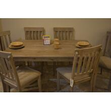 Ashley Furniture cream wood dining table W/6 chairs.