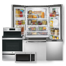 See Details - 18.6 Cu. Ft. Counter-Depth French-Door Refrigerator & Free-Standing Electric Range Package