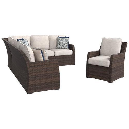 Signature Design By Ashley - Salceda 3-piece Outdoor Sofa Set