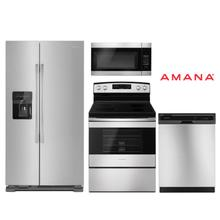 Amana 4 Piece Kitchen Package w/ Side-by-Side Refrigerator in Stainless Steel