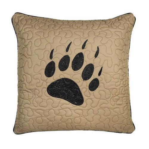 Bear Walk Plaid Paw Throw Pillow