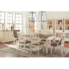 See Details - Bolanburg Antique White Dining Room Set: Dining Table with 4 Side Chairs and 2 Arm Chairs