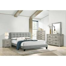 Light Grey Queen Size Platform Bed Frame