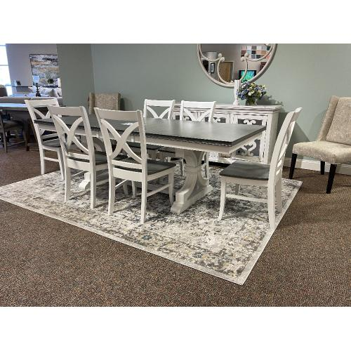 FARMHOUSE DINING SET WITH 6 CHAIRS