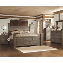 Juararo- Dark Brown- 7 Pc.- Dresser, Mirror, Chest, Nightstand & King Poster Bed with 2 Storage Drawers