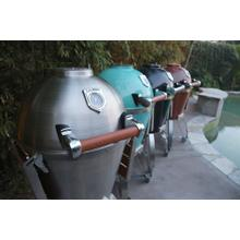 """See Details - 22"""" Caliber Pro Kamado Grill/Smoker (304 Stainless Steel with Hardwood Cherry Handle)"""