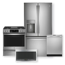 "GE PROFILE 27.7 Cu. Ft. French-Door & 30"" Smart Slide-In Front-control Gas Range Package"