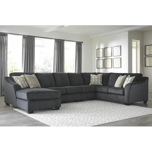 Eltmann - Slate - 4-Piece Sectional with Left Facing Chaise