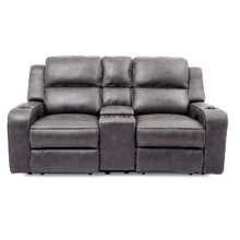 POWER HEADREST RECLINING CONSOLE LOVESEAT in Grey   (70086-1-25667/25292GREY,WARE-70086)