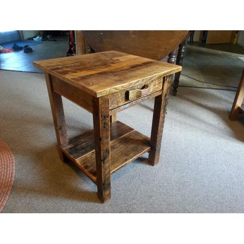 Cozy Creations Collection - Barn Board End Table with Drawer and Shelf