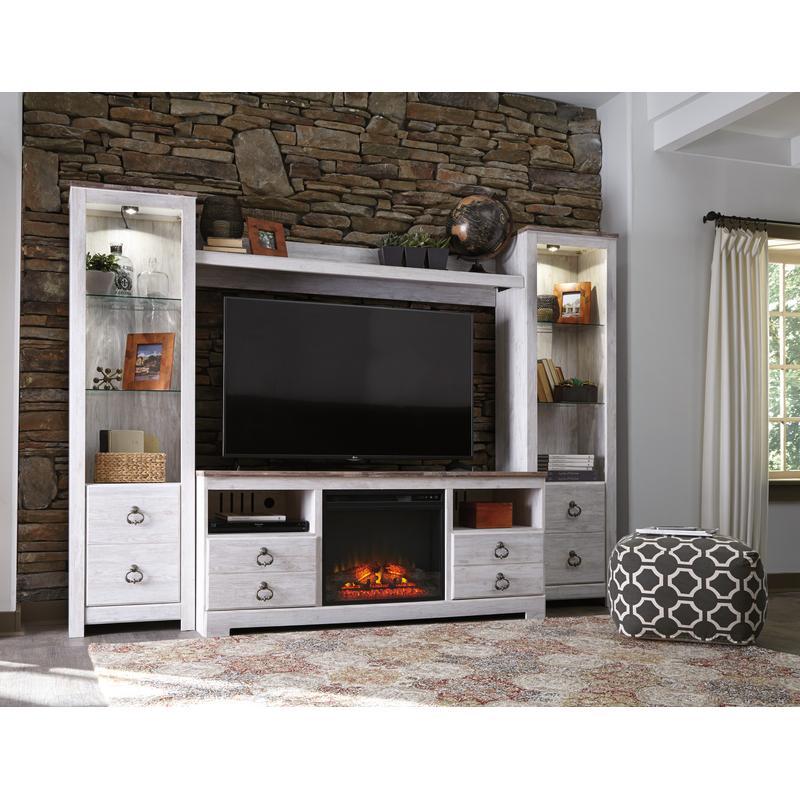 View Product - Willowton Whitewash 5 Piece Fireplace Entertainment Center
