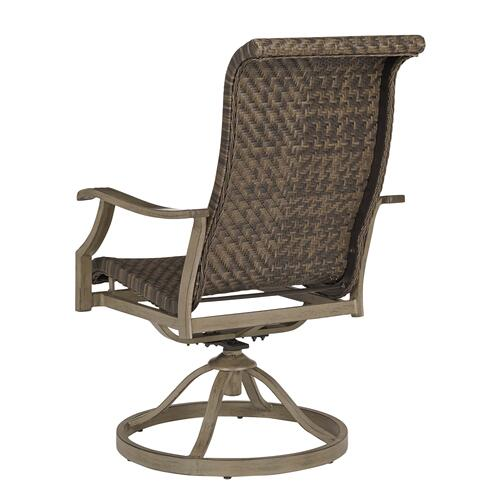 Ashley Furniture - Outdoor Fire Pit Dining Table and 4 Swivel Rocker Chairs