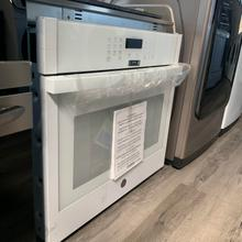 """See Details - GE 30"""" Smart Single Electric Wall Oven  Self-cleaning with steam in white     - Floor model"""