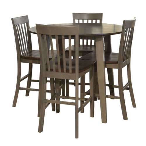 """42"""" SOLID HARDWOOD PUB TABLE & 4 STOOLS in Sandstone Tobacco   (AMES-ST4380)"""