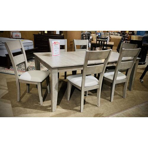 Warehouse M - Grey Mango 7 Piece Dining Set in Grey Finish   (Rectangular Table with 6 Side Chairs)   (WARE-MANGODG)