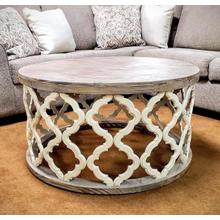 See Details - Brocade Round Cocktail Table in Nero White Finish