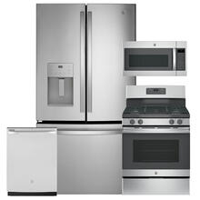 """See Details - GE 25.6 Cu. Ft. French-Door Refrigerator & 30"""" Free-Standing Gas Range 4 Pc Package- Open Box"""