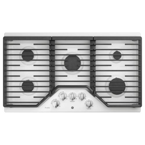 "GE Profile White 36"" Gas 5 Burner Cooktop"