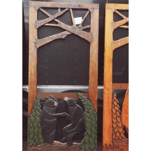 Handmade rustic wooden screen door featuring a dancing bears and a forest theme.
