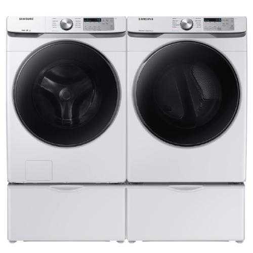 Samsung Steam 4.5 Cu.Ft. Front Load Washer & 7.5 Cu.Ft. Electric Dryer with Pedestals - White