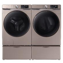 SAMSUNG 4.5 cu. ft. Front Load Washer with Steam & 7.5 cu. ft. Electric Dryer with Steam Sanitize  in Champagne - Open Box