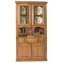 Corner Hutch w/ 2 Half Doors V-Groove Glass, Light, Full Mirror Backs, Felt Lined Drawers
