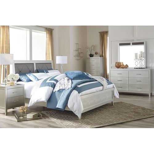 Olivet - Queen Upholstered Panel Bed, Dresser, Mirror, & 1 x Nightstand