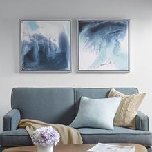 Blue Lagoon 2 Gel Coat Framed Canvas 2 Piece Set